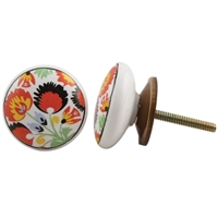 Ceramic Knob with Colorful Flower