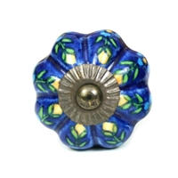 Blue Melon Ceramic Knob with Flowers