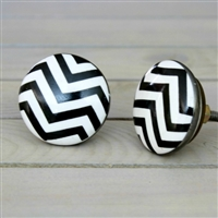 Flat Ceramic Knob with Chevron Pattern