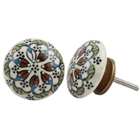 Flat Ceramic Knob with Floral Pattern