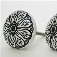 Flat Ceramic Knob with Intricate Black Floral Pattern