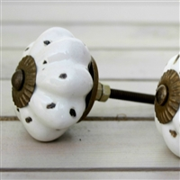White Melon Ceramic Knob with Distressed Finish