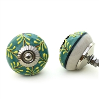 Embossed Ceramic Knob with Yellow Ferns