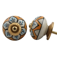 Embossed Ceramic Knob with Yellow & Blue Floral Pattern