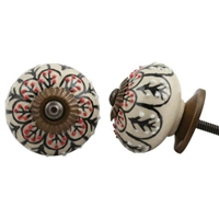 Embossed Ceramic Knob with Black & Red Floral Pattern