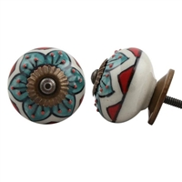 Embossed Ceramic Knob with Green & Red Floral Pattern