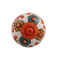 Sunflower Ceramic Drawer Knob with Orange Fitting