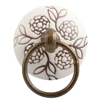 Brown Marigold Etched Flat Ceramic Drawer Knob