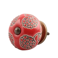 Red Marigold Etched Ceramic Cabinet Knob