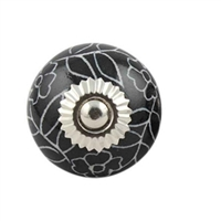 Black Leaf Floral Ceramic Knob