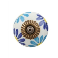 Blue Flower Ceramic Drawer Knob
