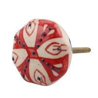 Red Octagon Ceramic Drawer Knob