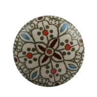 Multi-Colored Floral Ceramic Drawer Knob