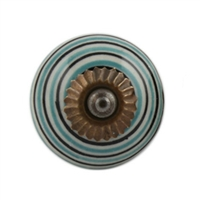 Sage Green Black Striped Knob