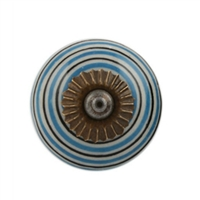 Turquoise Black Striped Knob