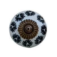 Black Flower Ceramic Cabinet Knob