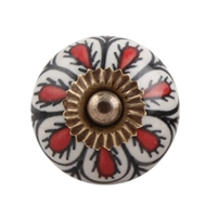 Red & Black Floral Ceramic Cabinet Knob