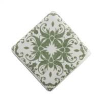 Sage green ceramic cabinet knob with a floral motif.