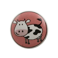 Ceramic drawer knob with a cute cow print. Ideal way to add color and charm to a kids room.
