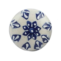 Flat Blue and White Ceramic Cabinet Knob