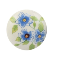 Blue Poppy Ceramic Drawer Knob