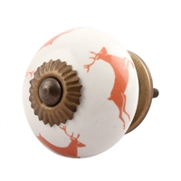 Peach Reindeer Ceramic Drawer Knob
