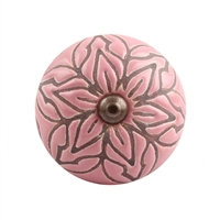 Etched Ceramic Drawer Knob in Pink
