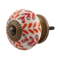Ceramic Drawer Knob with Orange & Red Leaf Pattern