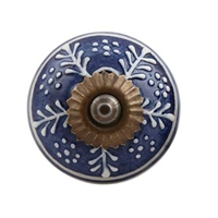 Ceramic Cabinet Knob with White Leaf