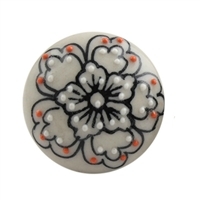 Flat Ceramic Cabinet Knob with Black Floral Pattern