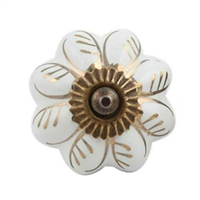 White & Copper Melon Ceramic Dresser Knob
