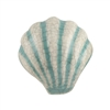 Cream Sea Shell Dresser Knob with Green  Stripes