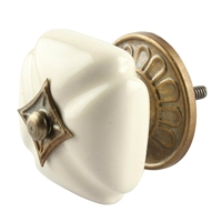 Solid Cream Ceramic Cabinet Knob