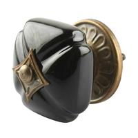 Solid Black Ceramic Cabinet Knob
