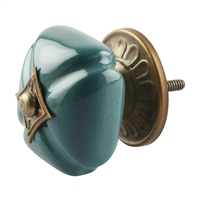 Solid Green Ceramic Cabinet Knob