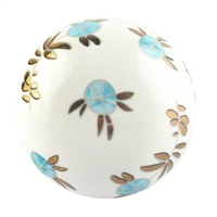 Golden Leaf Big Ceramic Round Cabinet Knob