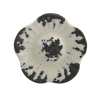 Black Etched Flower Ceramic Cabinet Knob