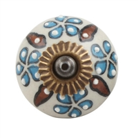 Blue Brown Embossed Floral Ceramic Cabinet Knob