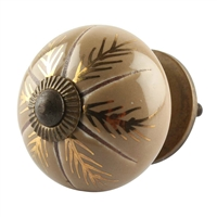 Golden Leaf Ceramic Cabinet Knob