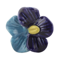 Blue and Turquoise Ceramic Flower Knob