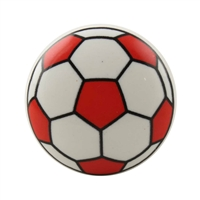 Red Soccer Ball Ceramic Flat Cabinet Knob