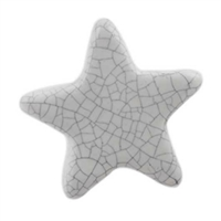 White Star Crackle Ceramic Cabinet Knob
