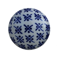 Blue and White Round Ceramic Cabinet Knob