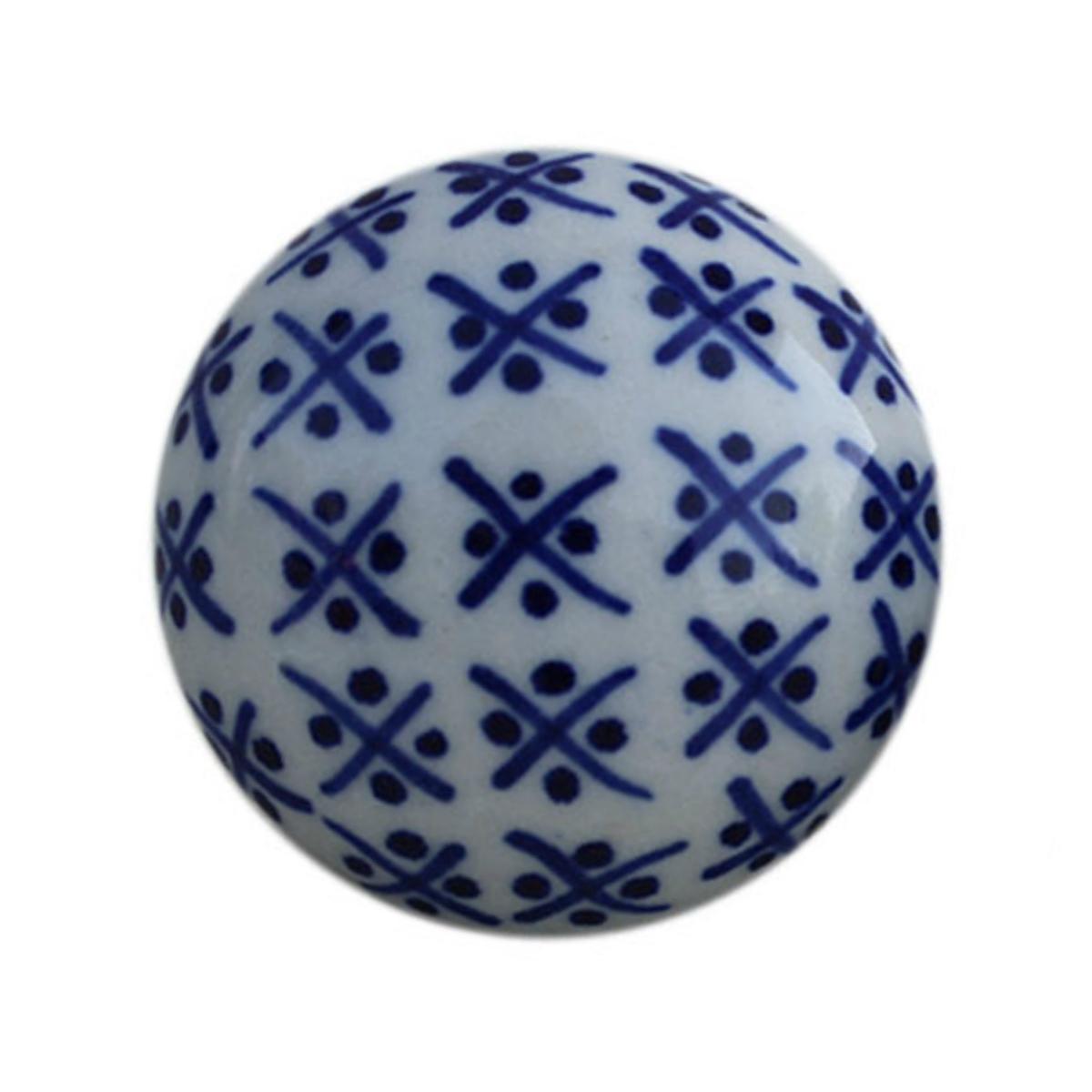 Blue And White Round Ceramic Cabinet