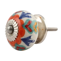 Orange Flower Ceramic Cabinet Knob