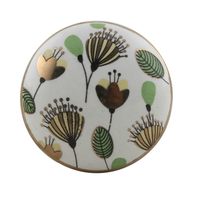 Golden Poppy Ceramic Cabinet Knob