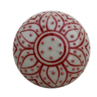 Red Embossed Floral Cabinet Knob