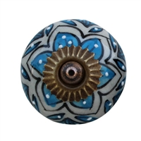 Blue and White Floral Cabinet Knob