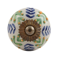 White Blue Green Leaf Ceramic Knob