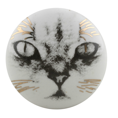 Cat Face Golden Ceramic Cabinet Knob